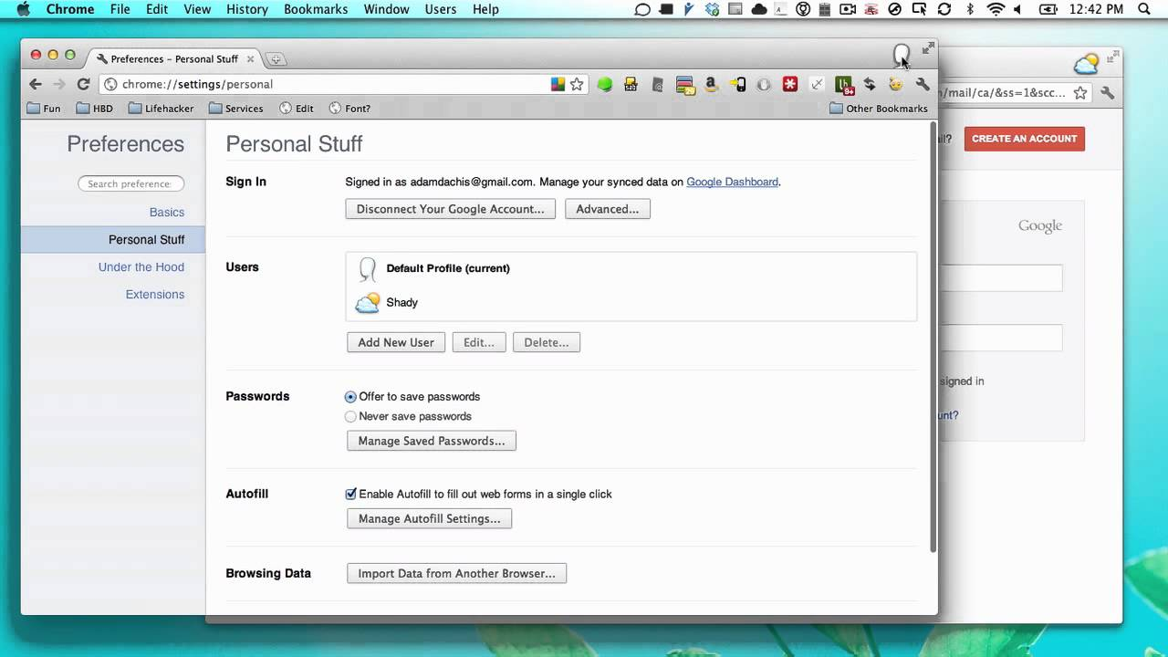 how to set defualt account on chrome