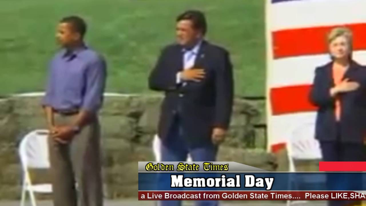 Barack Obama refuses to put his hand over his heart for the National Anthem on Memorial Day!!!!!