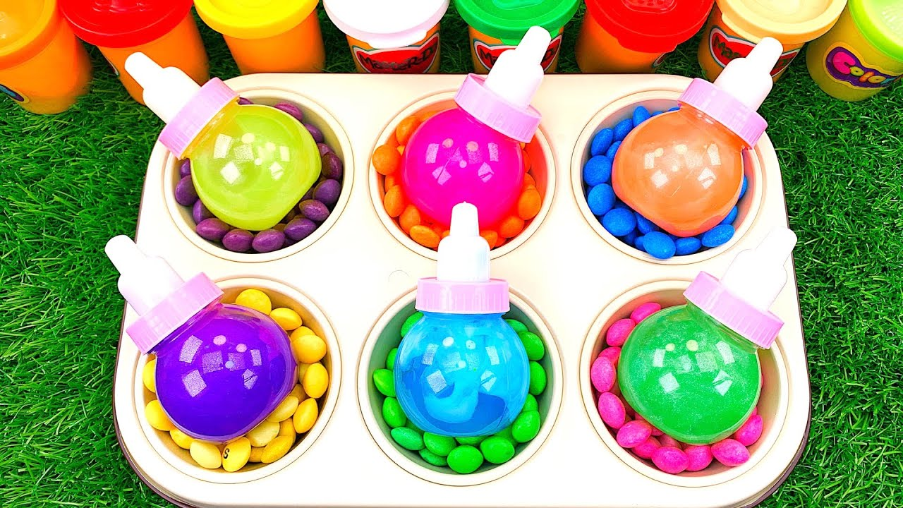 Satisfying Video l How to Make Rainbow Slime Lollipop Candy with Colorful Playdoh Skittles ASMR