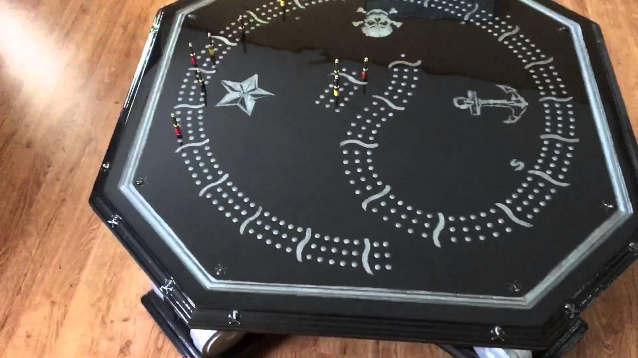 Custom Magnetic Cribbage Board Coffee Table