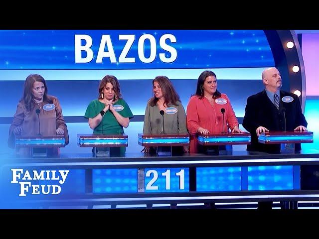 The Bazos family is this close to a new car! | Family Feud