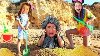 Granny Stuck In The Sand | Ruby & Bonnie Pretend Play Morning Exercise Routine