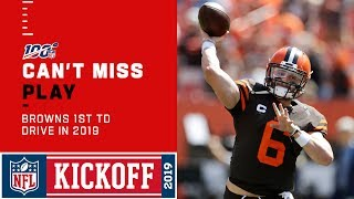 Baker mayfield and nick chubb take it to the house on their first touchdown drive in 2019. tennessee titans cleveland browns during week 1 of...