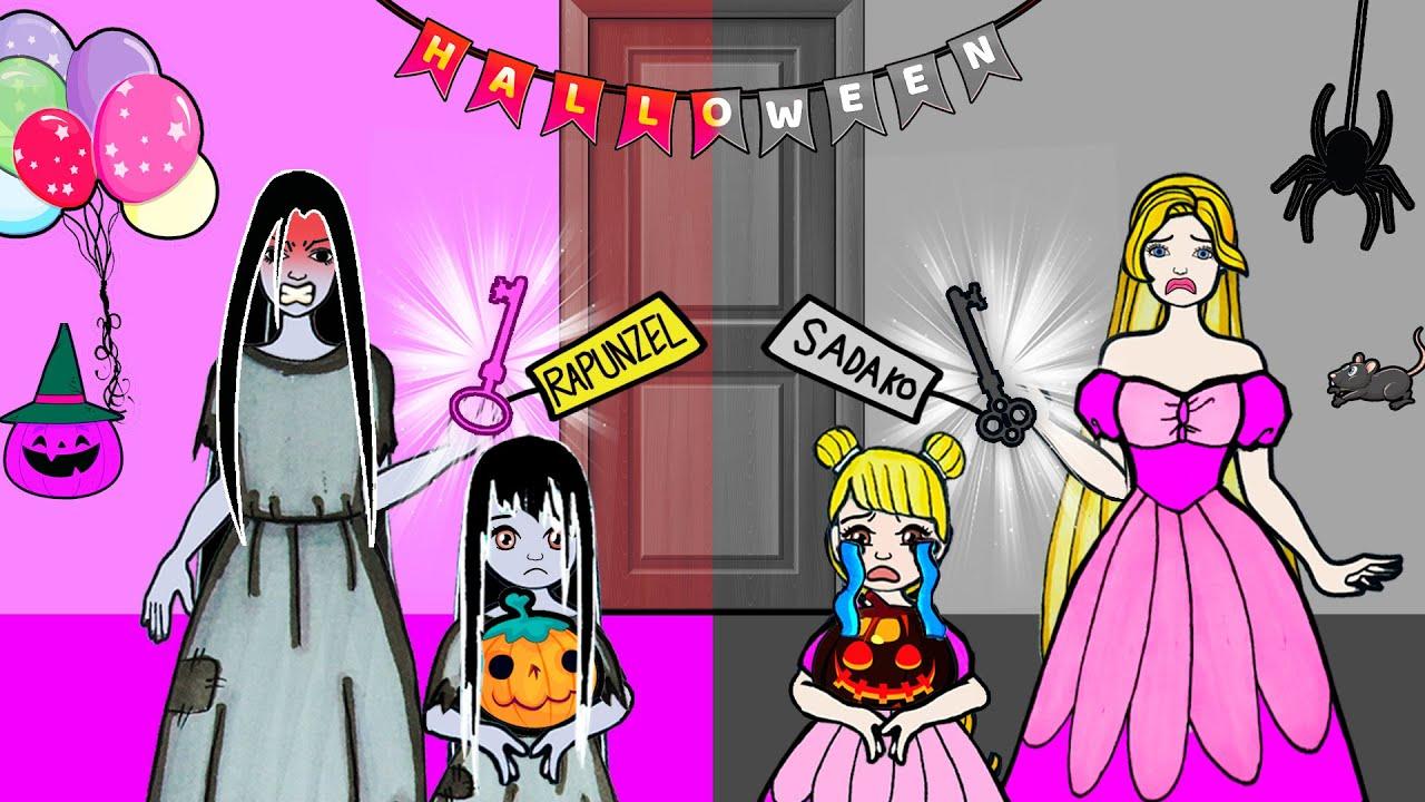 Paper Dolls Dress Up - Halloween Costumes Sadako & Rapunzel Dress Handmade - Fairy Tales#30