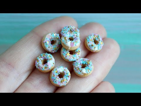 Mermaid party. Miniature donuts on a scale of 1:12. Tutorial. DIY. Made from polymer clay.