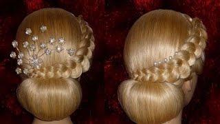 Вечерняя, свадебная причёска на средние/длинные волосы.Причёска на выпускной.Пучок из волос(, 2015-02-02T12:52:35.000Z)