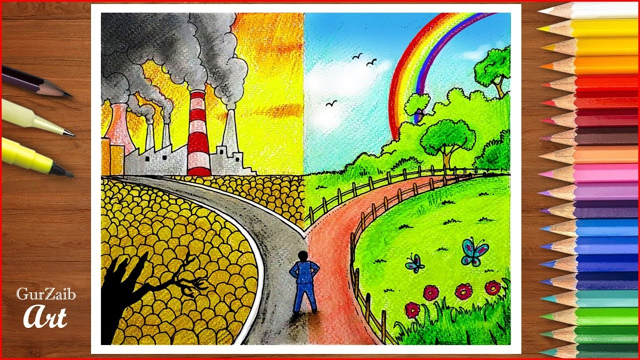 Save Environment Save Nature Poster Chart Drawing For Competition