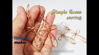 Simple cross earring - How to make jewelry from copper wire 423