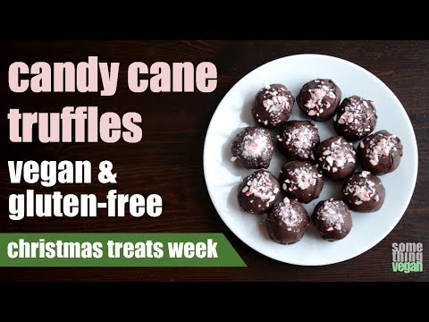 candy cane truffles (vegan & gluten-free) Something Vegan Christmas Treats Week