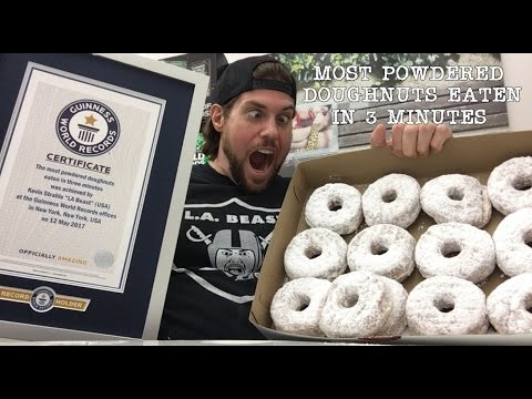 Most powdered doughnuts eaten in 3 min guinness world records title l a beast