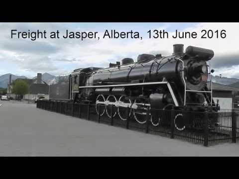 Jasper, Alberta, Canadian National freight operations. 185 car freight. 13th June 2016