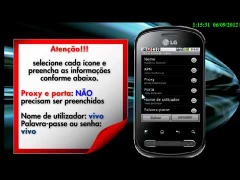 LG Optimus ME P350 Configurações de Internet vivo