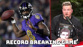 Pat McAfee Reacts to Lamar Jackson's Record Breaking Game vs Rams