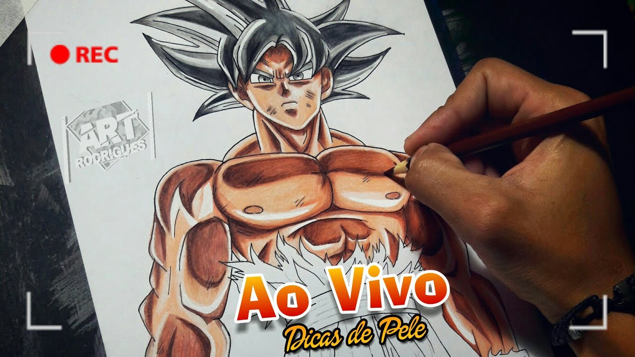 Desenhando O Goku Instinto Superior Dominado Ao Vivo Dicas De Pele