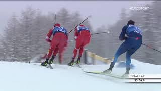 Победа Большунова и тройное столкновение лыжников России в масс старте