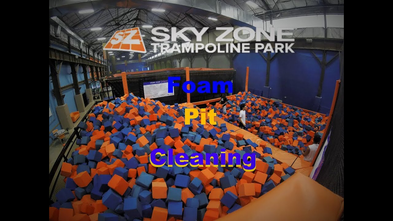 foam pit cleaning  sky zone youtube