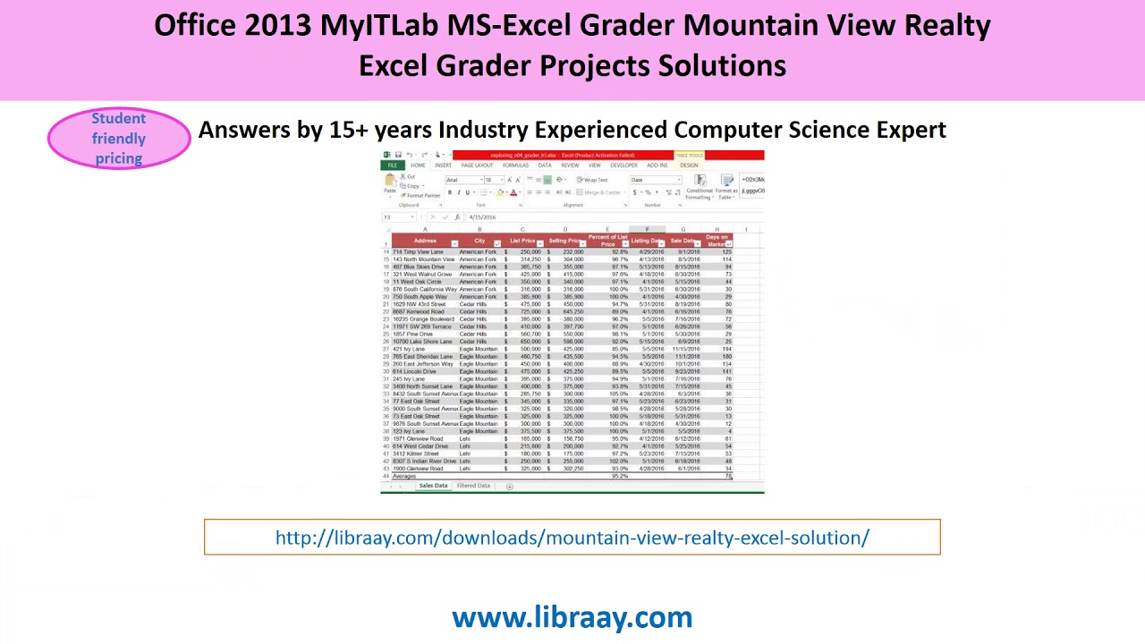 Office 2013 MyITLab MS-Excel Grader Mountain View Realty