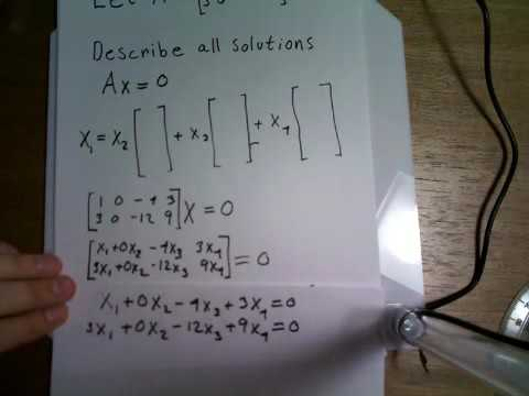 Describe all solutions of Ax=0 SD - YouTube