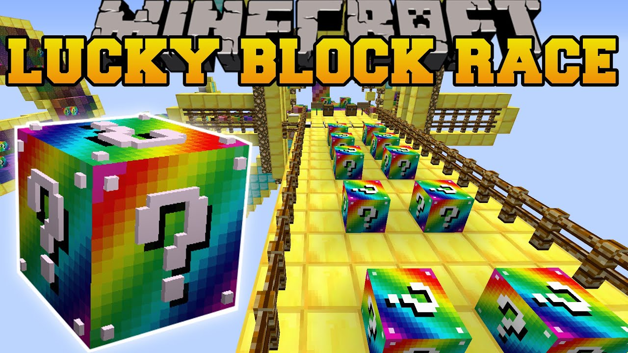 how to craft a lucky block minecraft rainbow road epic lucky block race lucky b 7775