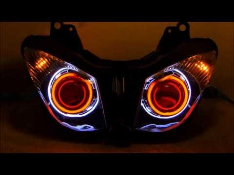 #1 2009 - 2012 & 2008-2010 ZX10R Kawasaki ZX6R HID Projector headlights Dual halo by BKMOTO