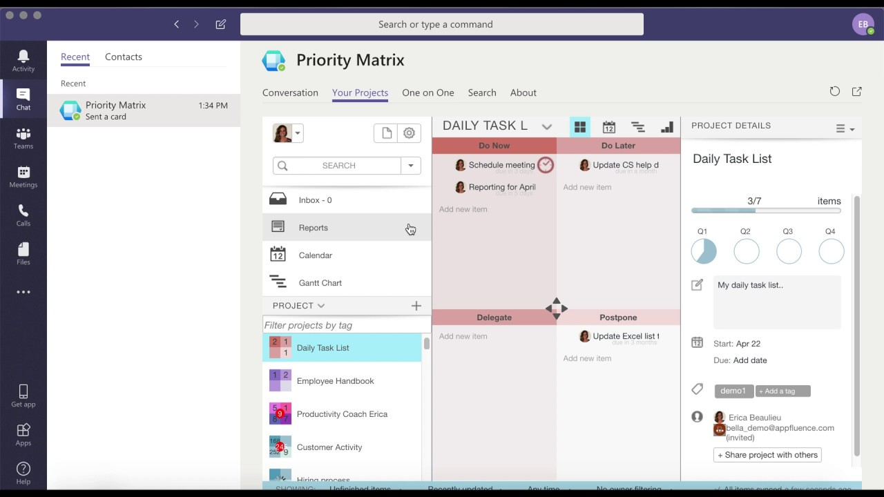 Microsoft Teams Project Management with Priority Matrix ...