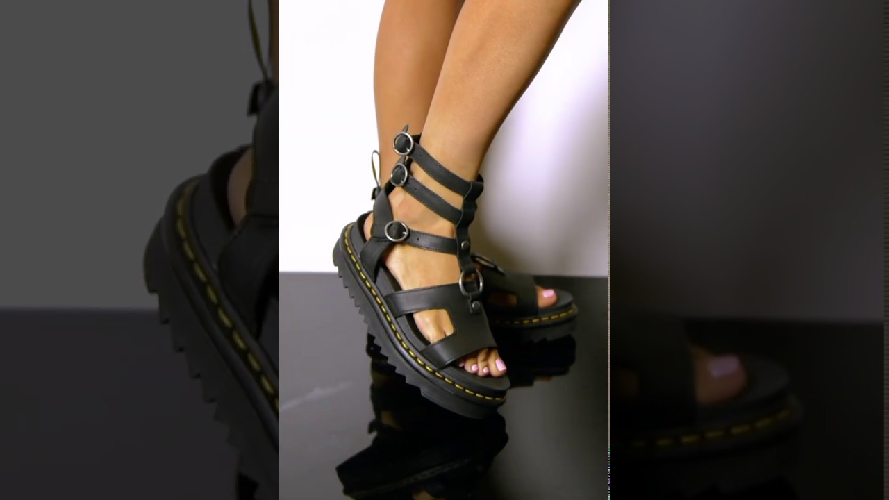 66105eace38 DR. MARTENS WOMENS ADAIRA CAGED GLADIATOR SANDALS IN BLACK - YouTube