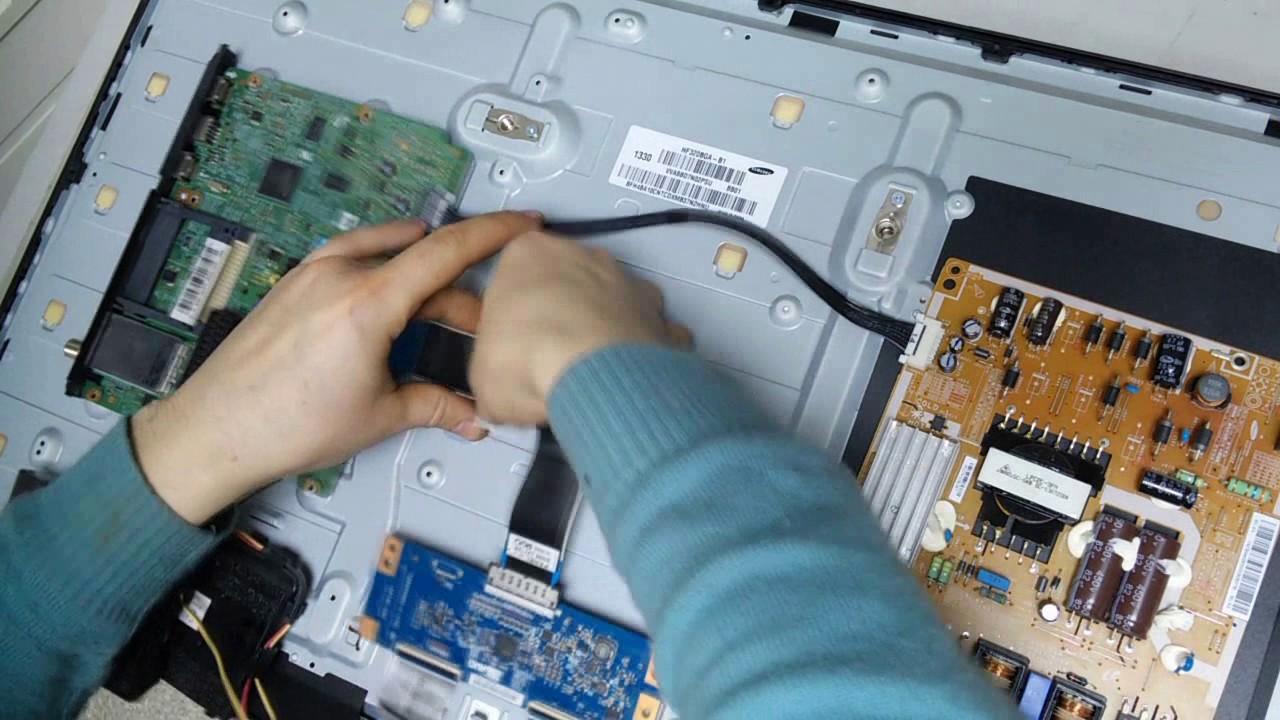 ремонт телевизора samsung ue32f5020, нет изображения(нет подсветки, ремонт led подсветки)