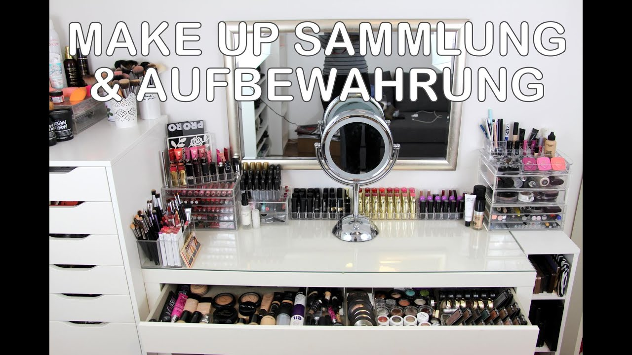 make up sammlung aufbewahrung schminktisch update 2016 ikea m bel alex malm youtube. Black Bedroom Furniture Sets. Home Design Ideas
