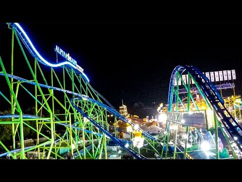 Riding Oktoberfest's AWESOME Alpina Bahn Roller Coaster at Night