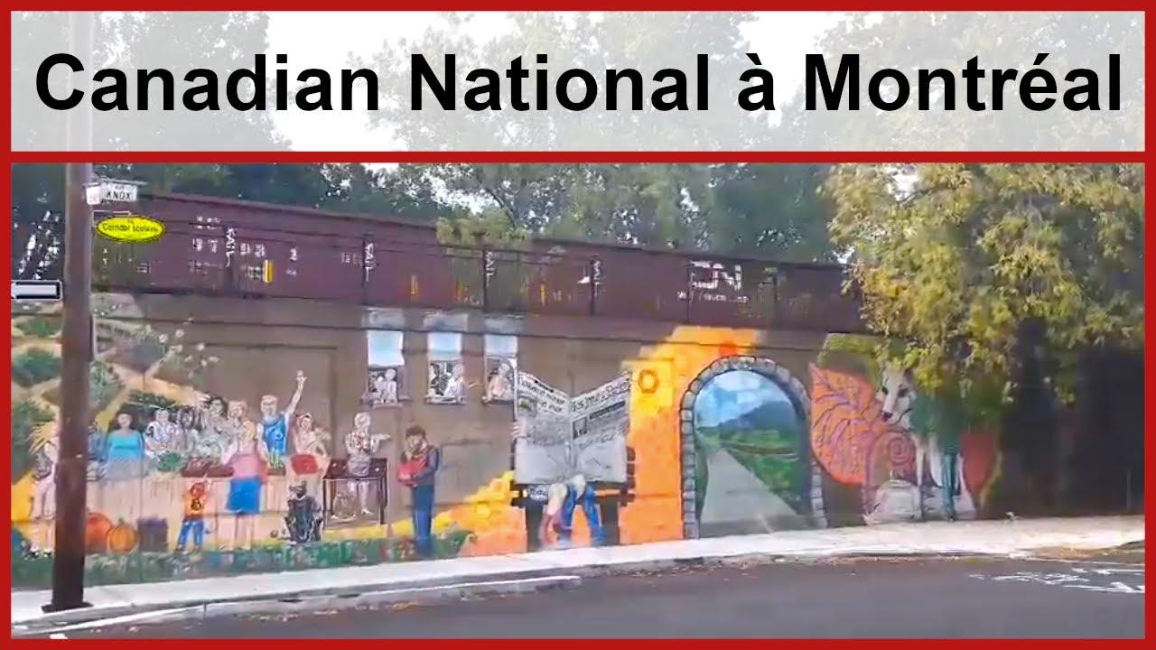 Train du Canadian National passant au-dessus d'une fresque de rue à Montréal