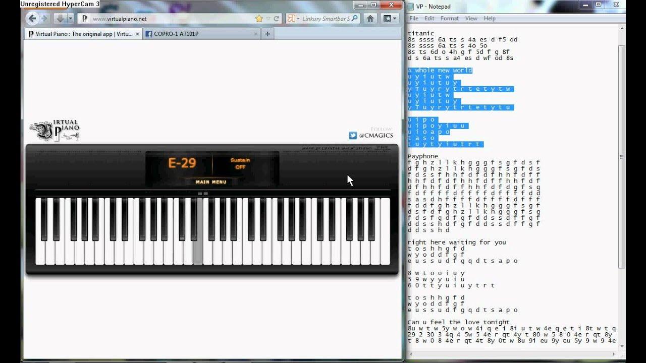 Roblox A Whole New World Piano