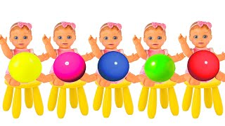 Learn Colors with Five Little Babies   Nursery rhymes and children's songs