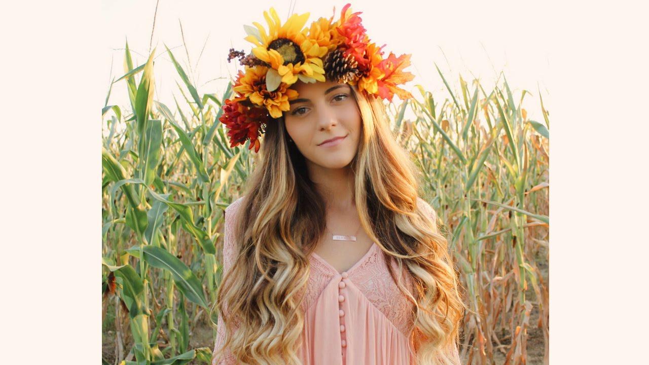 Diy Fall Flower Crown Noel Labb Youtube