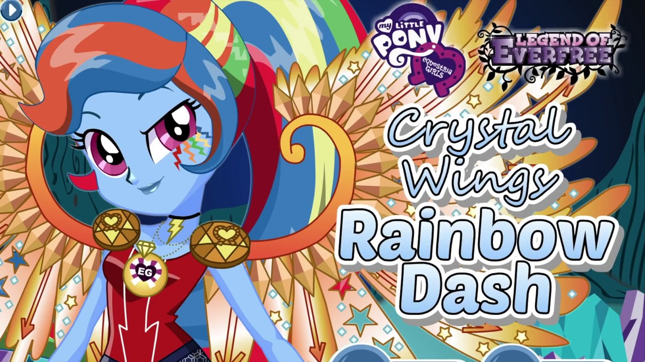 My Little Pony Equestria Girls Legend of Everfree Crystal Wings Rainbow  Dash Dress Up Game for Girls
