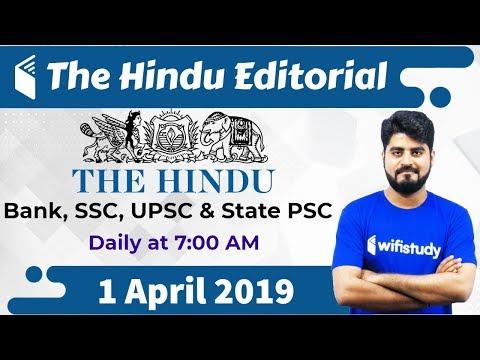 7:00 AM - The Hindu Editorial Analysis by Vishal Sir   1 April 2019   Bank, SSC, UPSC & State PSC