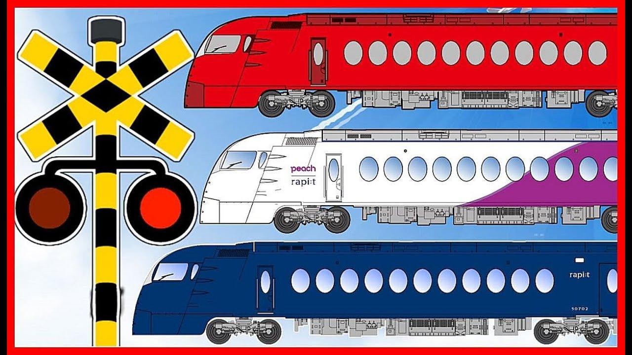 【電車 踏切 アニメ】幼児向け★特急電車 南海ラピートが通過するよ★ Railroad crossing and train animation for children