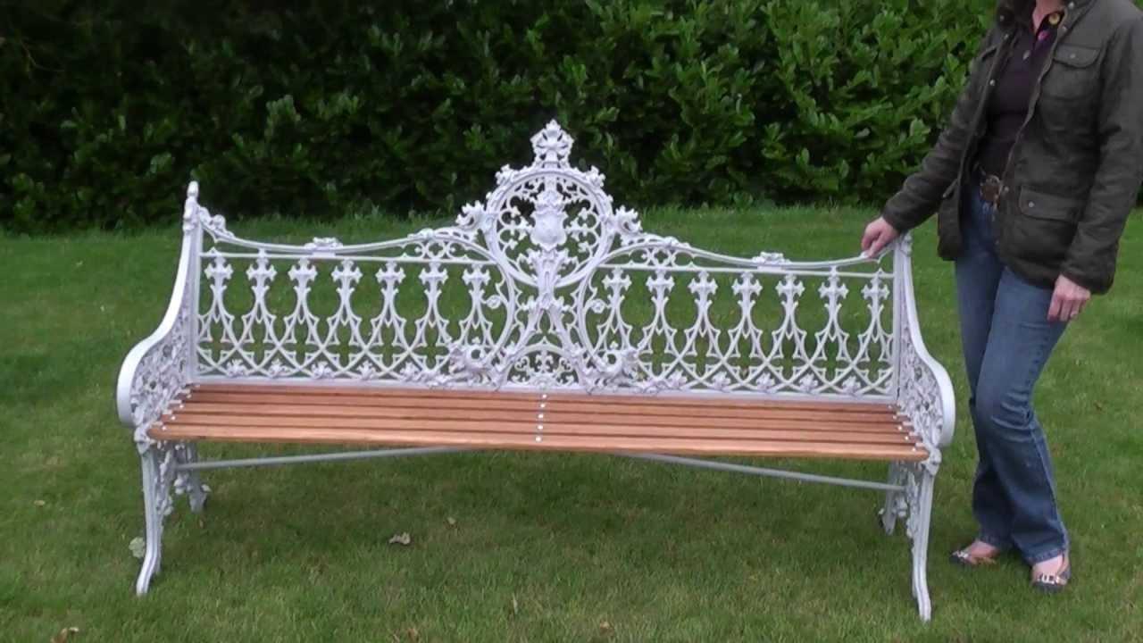 Antique Original Cast Iron Coalbrookdale Gothic Pattern Garden Bench   UKAA  C B DALE   YouTube