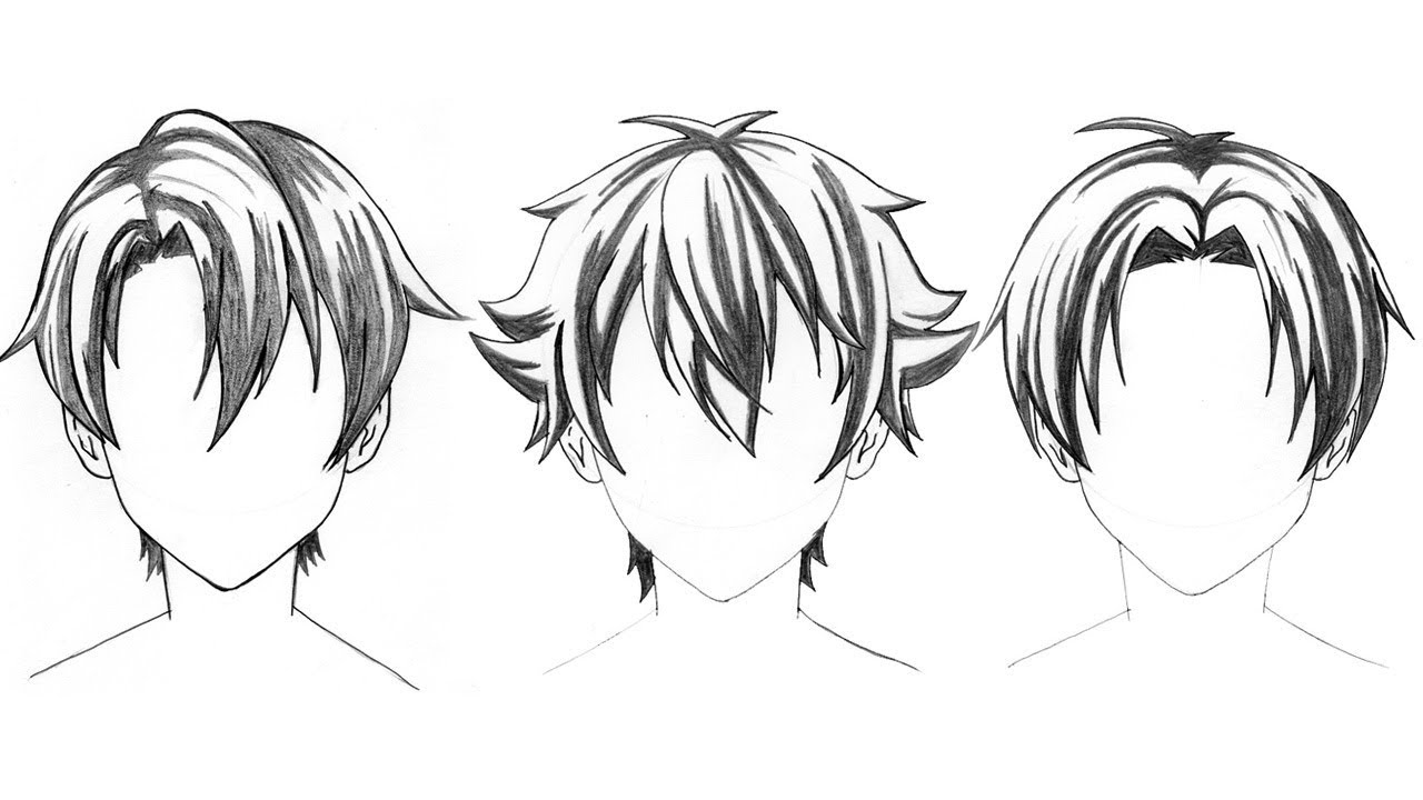 3 Hairstyle To Draw Anime Hair Boy How To Drawing Anime Tutorial Youtube