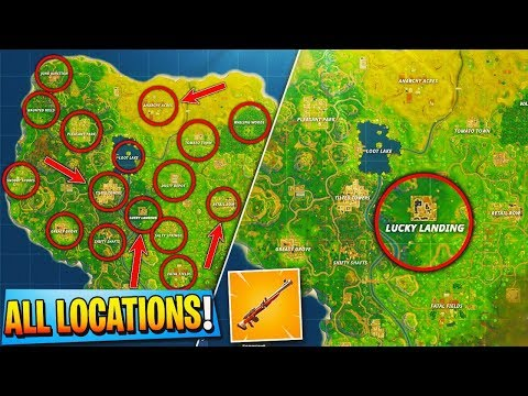 """NEW """"HUNTING RIFLE"""" ALL SECRET LOCATIONS! - Fortnite Battle Royale NEW """"LUCKY LANDING"""" MAP UPDATE!"""