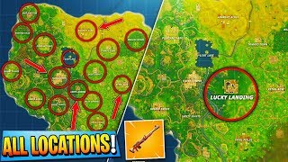"NEW ""HUNTING RIFLE"" ALL SECRET LOCATIONS! - Fortnite Battle Royale NEW ""LUCKY LANDING"" MAP UPDATE!"