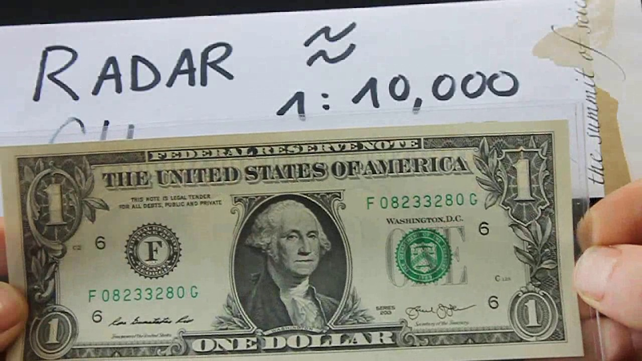 Fancy Serial Number Rare Radar One Dollar Note Cu Youtube