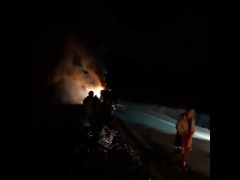 На трассе М-5 сгорел автобус | 74.RU
