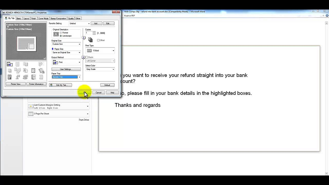 How to Print on Custom Size Paper, Konica Minolta bizhub - YouTube