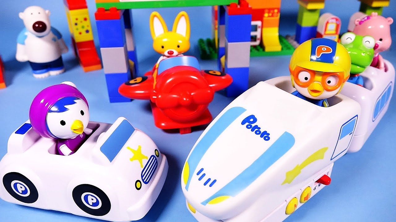 Pororo Block train 뽀로로 블럭놀이 장난감 Rail car & airplane toys
