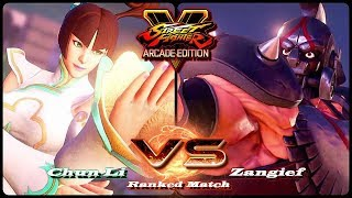 Here's me playing Street Fighter 5 Arcade Edition as Chun Li vs. Za...