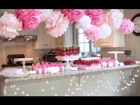 Girl baby shower decorating ideas youtube - Decoration baby shower fait maison ...
