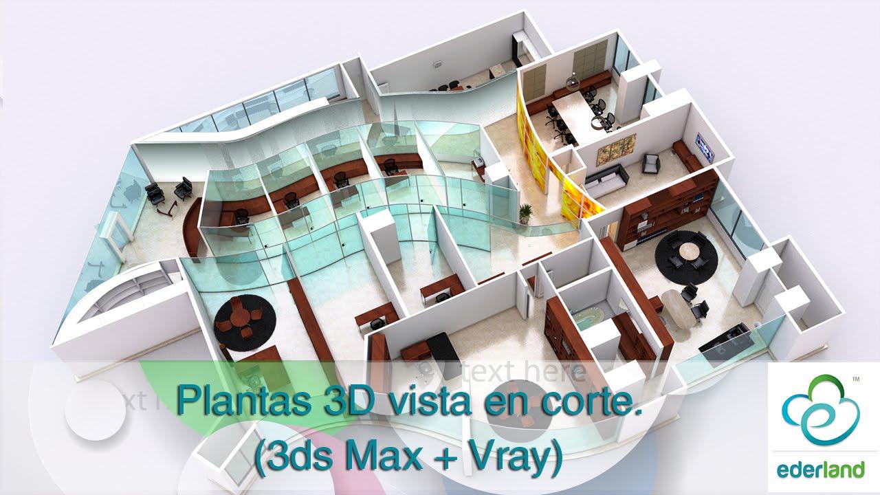 Plantas arquitect nicas en 3d 3ds max vray youtube for Plantas arquitectonicas de casas