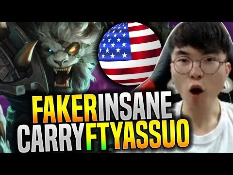 FAKER Insane HARD Carry NA SoloQ ft YASSUO!  - SKT T1 Faker NA SoloQ Playing Rengar | SKT T1 Replays