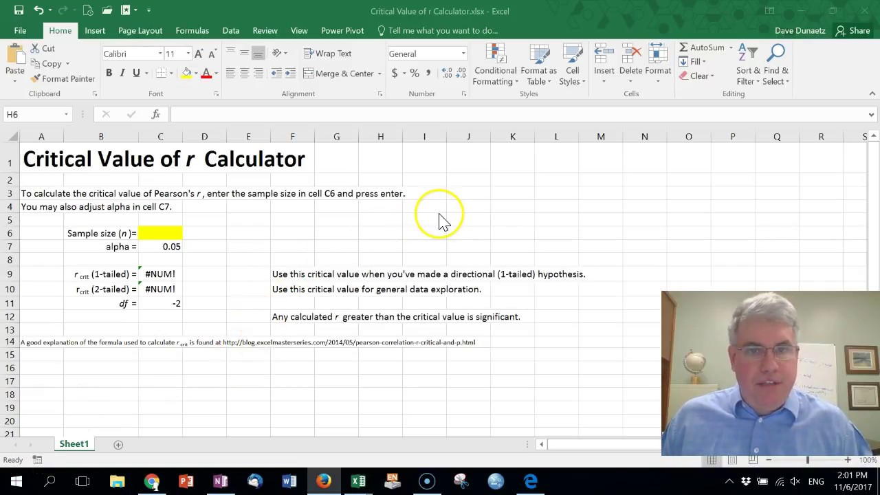 How to Calculate the Critical Value of r in Excel