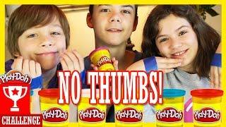 NO THUMBS CHALLENGE!  WITH PLAY DOH AND SHOPKINS!  |  KITTIESMAMA